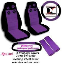 6 Piece Set Black & Purple Paw Prints Car Seat Covers in Velour w/ Accessories