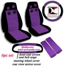 6 Piece Set Black & Purple Paw Prints Car Seat Covers in Velour w/ Accessories