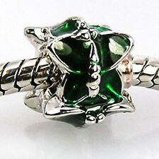 Wholesale Lot 20pcs Green Butterfly Silver European Bracelet Charm Beads D83