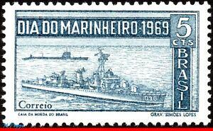 1148 BRAZIL 1969 NAVY DAY, DESTROYER AND SUBMARINE, SHIPS, MI# 1241 C-660, MNH