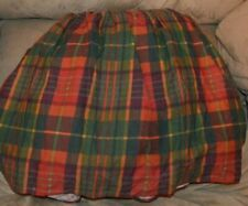 "Thomasville Rust Burgundy Gold Plaid Heavyweight Twin Bedskirt 14"" Drop"