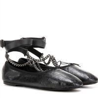 VALENTINO GARAVANI Noir rockstud chain wrap ballet flats ballerina shoes 36 NEW