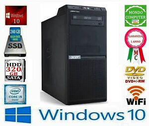 COMPUTER ACER CPU INTEL QUAD CORE i 5 2400 8 GB RAM SSD 240 GB WIFI WINDOWS 10