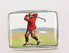 Fathers Day Gift Golf Golfing Silver Pill Box Vintage Style Solid Silver 925