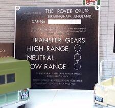 Land Rover Series 1 86 107 Bulkhead Gear/Transfer Box Information Plate/Plaque