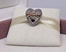 New w/Hinge Box Pandora 2 Tone Just Married Wedding w/14 Kt & CZs Charm 792083CZ