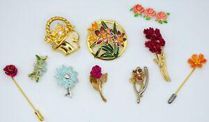💥 Lot of 10 Vintage Gold Tone Enamel Flower Brooch Pins