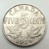 1926 Canada Near 6 Six Five 5 Cents Canadian Nickel Circulated Coin C678z