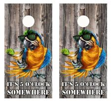 It's 5 O'Clock Somewhere Party Parrot Barnwood Cornhole Board Wraps 2595