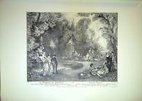 Gravure - LE BOSQUET DE BACCHUS d'après le tableau de Watteau