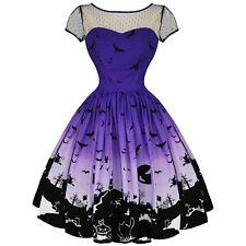 Hell Bunny Haunt Halloween Purple Ombre Cat Bat Pumpkin Vintage 1950s Dress