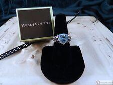 Blue Topaz & Black Spinel Sterling Silver Ring  ~ Ross Simons Size 7