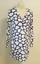 Diane von Furstenberg Reina Shibori Giraffe tunic dress 14 navy blue white DVF