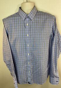 Untuckit Men's Medium M Button Up Front Wrinkle Free Long Sleeve Plaid Shirt