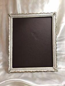 Vtg Shabby Chic Off White Photo Frame 8 X 10 Ornate Scalloped Torche Corners