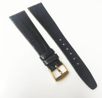 Brand New Genuine Lizard Leather Dark Brown 19mm Gold Tone Buckle Watch Band