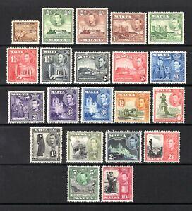 MALTA KGV1 1938 sg217-231 LIGHTLY & MOUNTED MINT SET 1/4d TO 10/- CAT £75