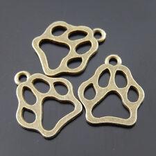**03793 Antique Bronze Tone Amusing Cute Animal Cat Dog Paw Pendant Charms 12pcs