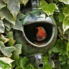 Ceramic Teapot Nesting Box Green Ideal For Robins and Other Garden Birds