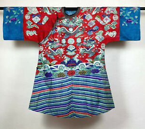 Antique Chinese Kesi Dragon Robe Silk Embroidery Gauze Brick Stitch Qing 1875
