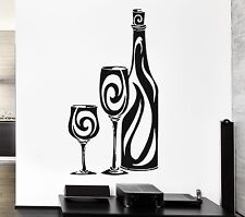 Wall Stickers Vinyl Decal Bottle of Wine Glass Restaurant Drink Alcohol (ig869)
