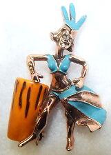 Vintage Bakelite Conga Drum Enameled Latin Dancer Figural C.W. Worth Brooch
