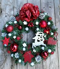 Christmas Wreath, Door/Wall Hanging Decoration, Unique Handmade Ornament, Hooked