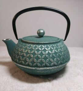 Blue Floral Cast Iron Teapot Kettle with Stainless Steel Infuser 1L Liter