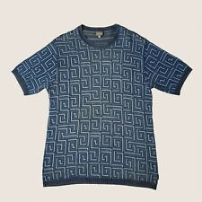 Vintage Versace Jeans Couture Blue Knit Swirl Print Tee XL (6/10 Condition)