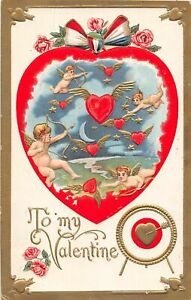 H66/ Valentine's Day Love Holiday Postcard c1910 Heart Cupids Gold-Lined 17