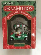"VINTAGE CHRISTMAS NOMA ORNAMOTION - SANTA & REINDEER IN GOLF CART ""FORE"""