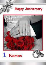 Free P/P - 60th tarjeta de boda de diamante a elección de (12) - Personalizada A5