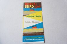 More details for 1967 burns & laird lines glasgow to dublin ireland irish shipping timetable