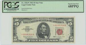 1963 $5 Legal Tender FR#1536* PCGS 68 PPQ Superb Gem Star
