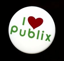 PUBLIX SUPERMARKET / I LOVE PUBLIX BUTTON PIN WITH HEART / COLLECTIBLE NEW!