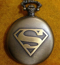 GENTS POCKET WATCH,SUPERMAN DESIGN,WITH LONG CHAIN,STAINLESS STEEL.