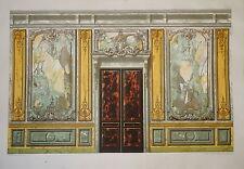 GRANDE Litho BOISERIE PORTE MARBRE DECORATION ARCHITECTURE 1870 NAPOLÉON III