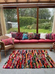 Zinda Frilled Shaggy Eco Friendly Rainbow Multi Colours Rug or Runner Rug Mat