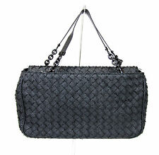 New Authentic BOTTEGA VENETA Intrecciato Tote Evening Bag, Black, 309349 1000