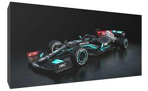 lewis Hamilton Mercedes side F1 car canvas wall art Wood Framed Ready to Hang