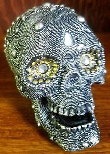 Silver black studded crystal eye skull ornament ~ Quality cool Gothic gift idea