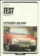 """Citroen gs 1220 club """"autocar"""" road test """"sales brochure"""" mars 1973"""