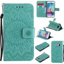 (Green)Fashion Embossed Sun Flower Pattern Wallet Flip PU Leather Phone Cover
