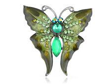 Vintage Green Enamel Peridot Rhinestone Butterfly Moth Pin Brooch CZ Gemstone