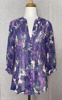 JOIE Womens Top Medium Purple Floral Semi Sheer Silk Blouse Button Up 3/4