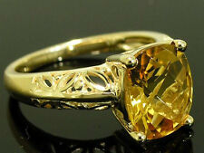 R170- Genuine 9ct Yellow GOLD Natural Cushion cut Citrine Solitaire Ring size O
