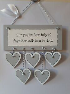PERSONALISED FAMILY FRIEND GIFT PLAQUE WOODEN HANGING HEART SIGN SILVER GREY