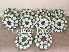 SET OF 10 HANDMADE WEDDING WREATHS DECORATION ROSES LAVENDER TABLE CENTREPIECE
