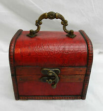 Red Mock Crododile Skin Wooden Pirate Chest / Cabin Trunk Trinket Box - NEW (2)