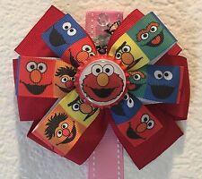 Elmo  Sesame Street Inspired Girl's Bottle Cap Bow Ernie Burt Cookie Monster Bow
